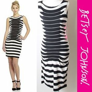 NWT Betsey Johnson Striped Ruched Dress Bodycon 6